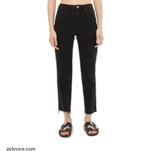 Topshop Black highwaist raw hem straight leg jeans